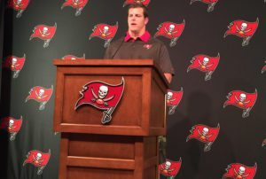 New Bucs guard J.R. Sweezy spoke to the media at One Buc on Thursday – Photo by: Mark Cook/PR