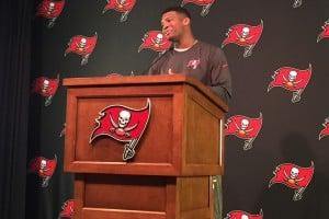 Jameis Winston described his offseason on Monday – Photo by: Mark Cook/PR