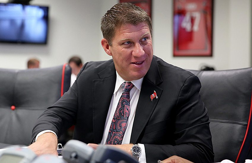 Jason Licht talked to the media on Thursday about the upcoming draft – Photo: Tampa Bay Buccaneers
