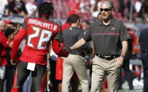 Bucs head coach Dirk Koetter and CB Vernon Hargreaves – Photo by: Mark LoMoglio/PR
