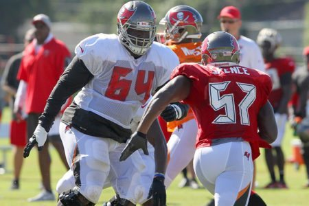 Bucs LG Kevin Pamphile - Photo by: Cliff Welch/PR