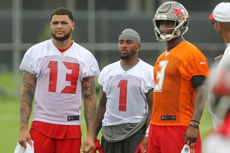 Bucs WRs Mike Evans and DeSean Jackson and QB Jameis Winston - Photo by: Cliff Welch/PR