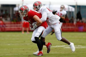 Bucs TE Cameron Brate and MLB Kwon Alexander - Photo by: Mark Lomoglio/PR