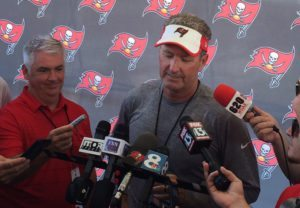 Bucs head coach Dirk Koetter – Photo by: Mark Cook/PR
