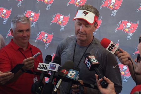 Bucs head coach Dirk Koetter – Photo by: Mrrk Cook/PR