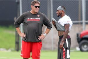 Bucs GM Jason Licht and WR DeSean Jackson - Photo by: Cliff Welch/PR
