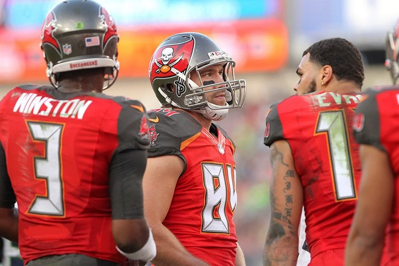 Bucs QB Jameis Winston, TE Cam Brate and WR Mike Evans - Photo by: Cliff Welch/PR