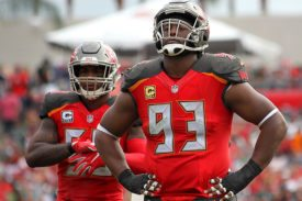 Bucs MLB Kwon Alexander and DT Gerald McCoy - Photo by: Cliff Welch/PR