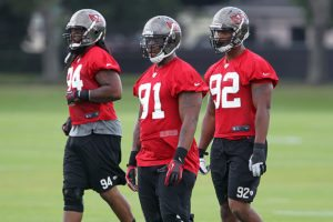 Former Bucs DEs Adrian Clayborn and Da'Qaun Bowers and current DE Will Gholston - Photo by: Cliff Welch/PR