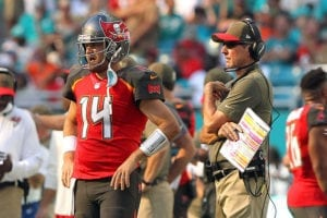 Bucs QB Ryan Fitzpatrick and head coach Dirk Koetter - Photo by: Cliff Welch/PR