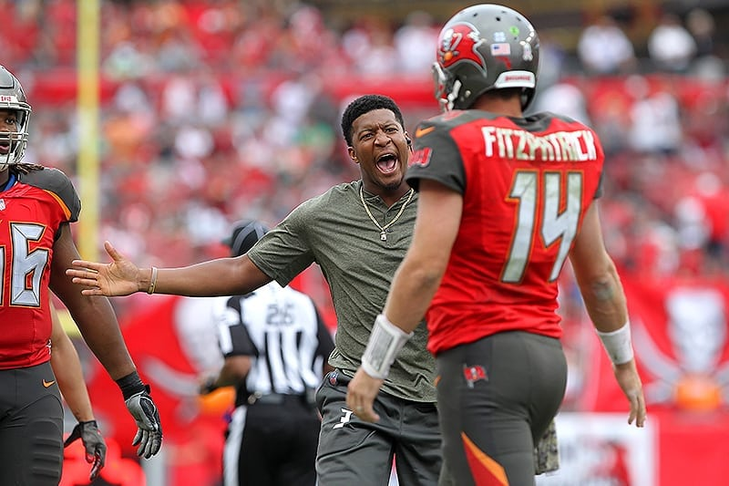 Bucs QBs Jameis Winston and Ryan Fitzpatrick - Photo by  Cliff Welch PR bef4ab952