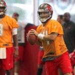 Bucs QBs Ryan Fitzpatrick and Jameis Winston – Photo by: Cliff Welch/PR