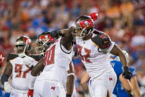 Bucs DEs Will Gholston and Jason Pierre-Paul - Photo by: Mary Holt/PR