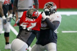 Bucs DE Noah Spence and LT Donovan Smith - Photo by: Cliff Welch/PR