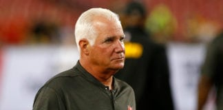 Bucs defensive coordinator Mike Smith - Photo by: Cliff Welch/PR