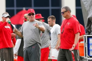 Bucs DC Mike Smith and LBs coach Mark Duffner - Photo by: Cliff Welch/PR