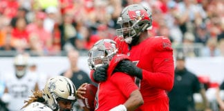 Bucs LT Donovan Smith and QB Jameis Winston - Photo by: Cliff Welch/PR