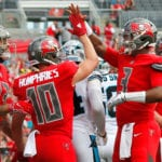 Bucs QB Jameis Winston and WRs Adam Humphries and Mike Evans - Photo by: Cliff Welch/PR