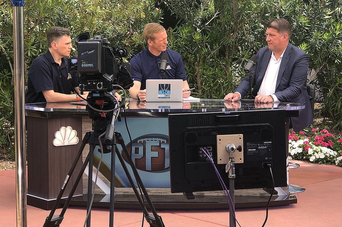 PFT's Mike Florio, Chris Simms and Bucs GM Jason Licht