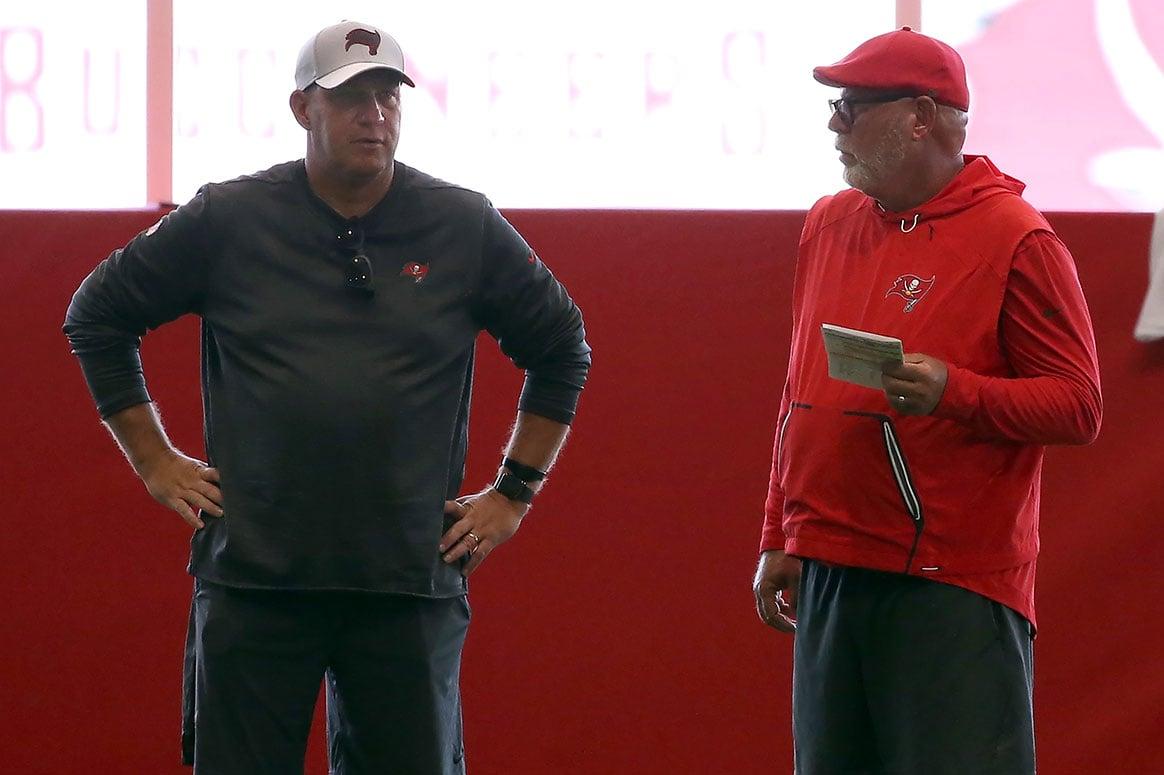 Bucs GM Jason Licht and head coach Bruce Arians