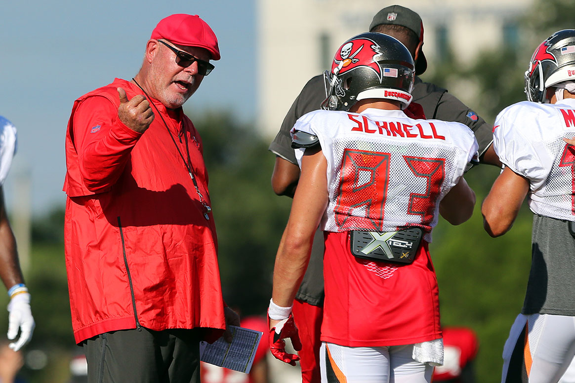 Bucs WR Spencer Schnell and head coach Bruce Arians