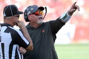 Bucs head coach Bruce Arians and NFL ref
