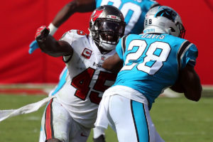 Bucs ILB Devin White and Panthers RB Mike Davis