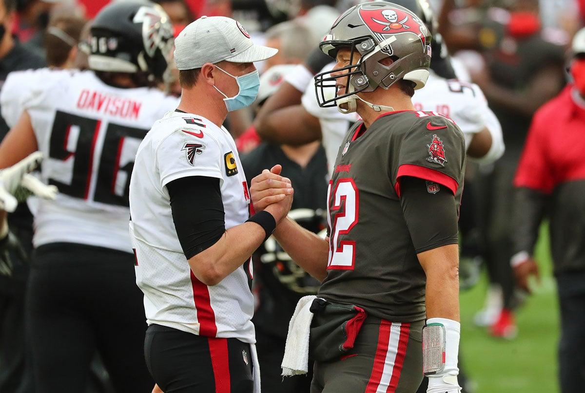 QB Matt Ryan and Bucs QB Tom Brady quarterbacks