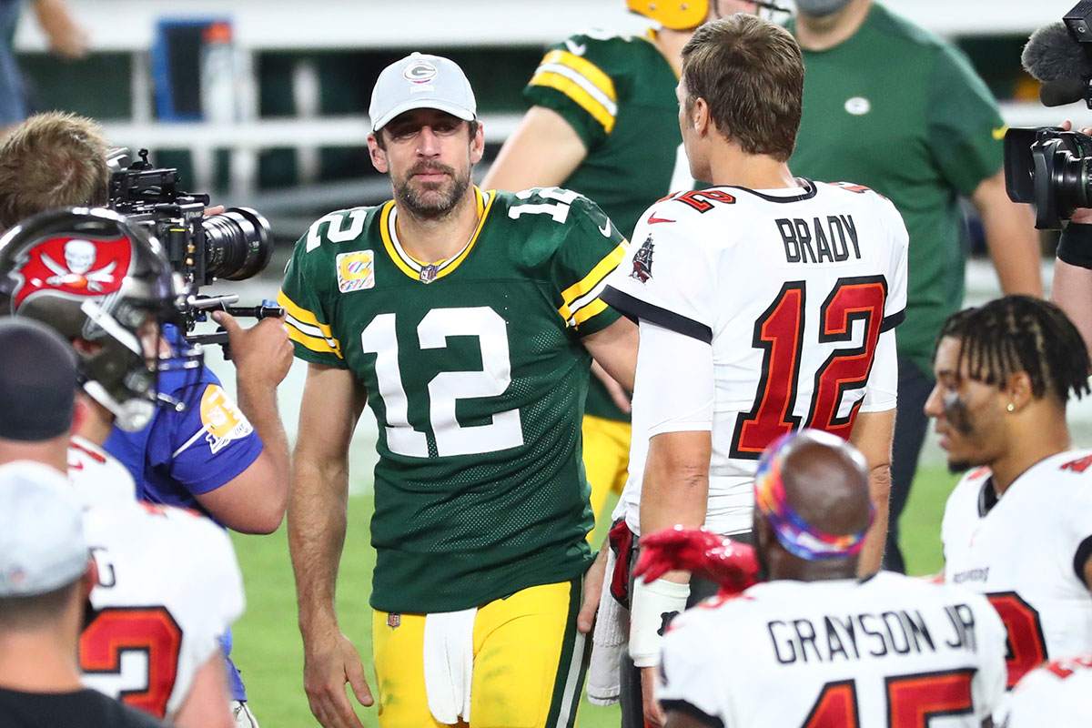 Bucs QB Tom Brady and Packers QB Aaron Rodgers